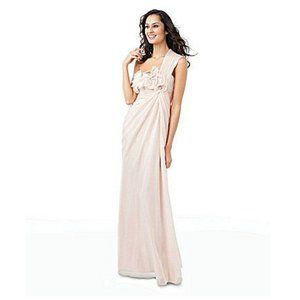 Adrianna Papell Grecian Pink One Shoulder Gown 4